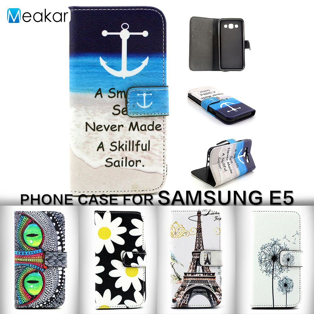 Painted Pattern Pu Leather 50for Samsung Galaxy E5 Case For E500 E5000