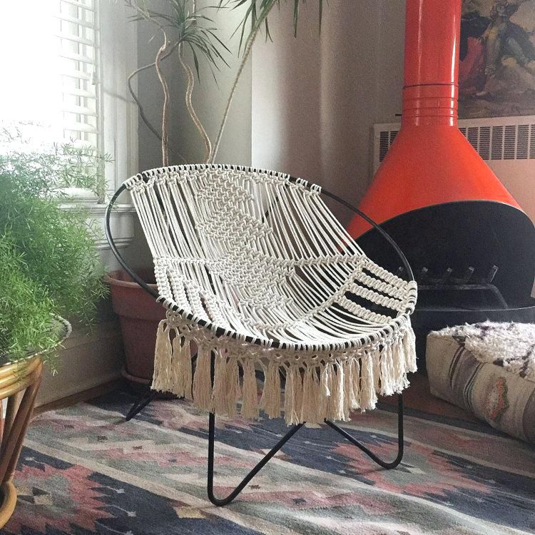 Pleasant Macrame Chair Mid Century Modern Macrame Hoop Chair Macrame Ocoug Best Dining Table And Chair Ideas Images Ocougorg