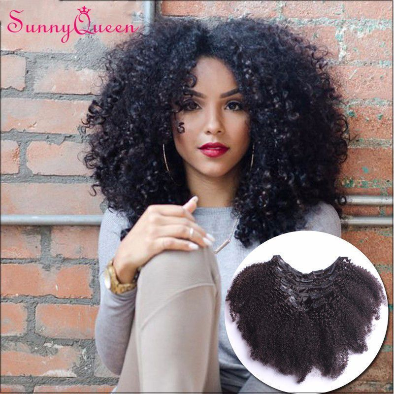 Clip In Human Hair Extensions Afro Kinky Curly Indian Virgin Hair