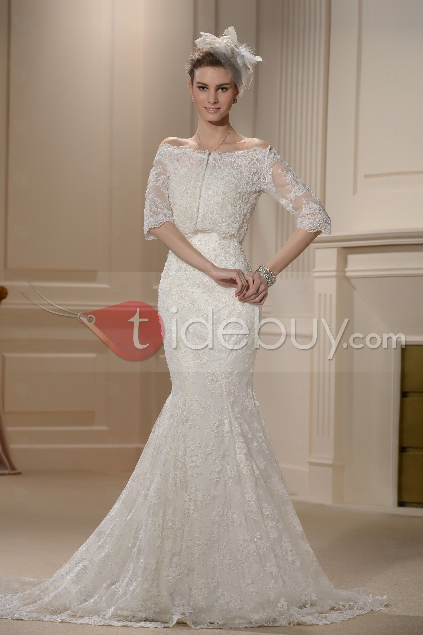 Glorious Trumpet/Mermaid Strapless Lace Embroidery Chapel Wedding ...