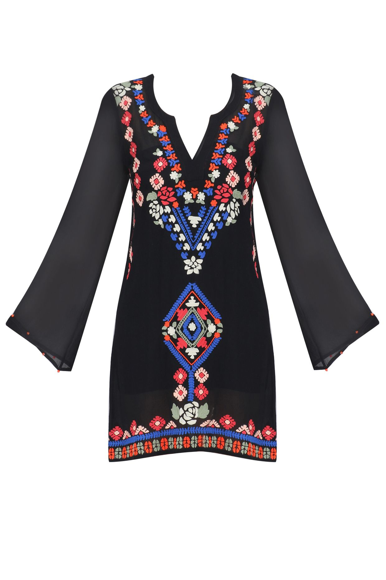 Black aztec embroidered flared sleeves dress available only at Pernia's Pop Up Shop.