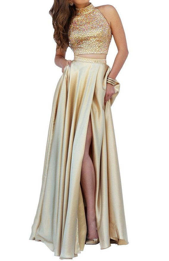 Lovelybride 2 Pieces Halter Rhinestones Crop Top High Slit Long Prom ...