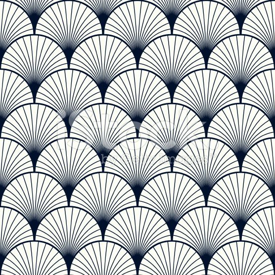 Seamless Vintage Pattern Of Overlapping Shells In Art Deco Style
