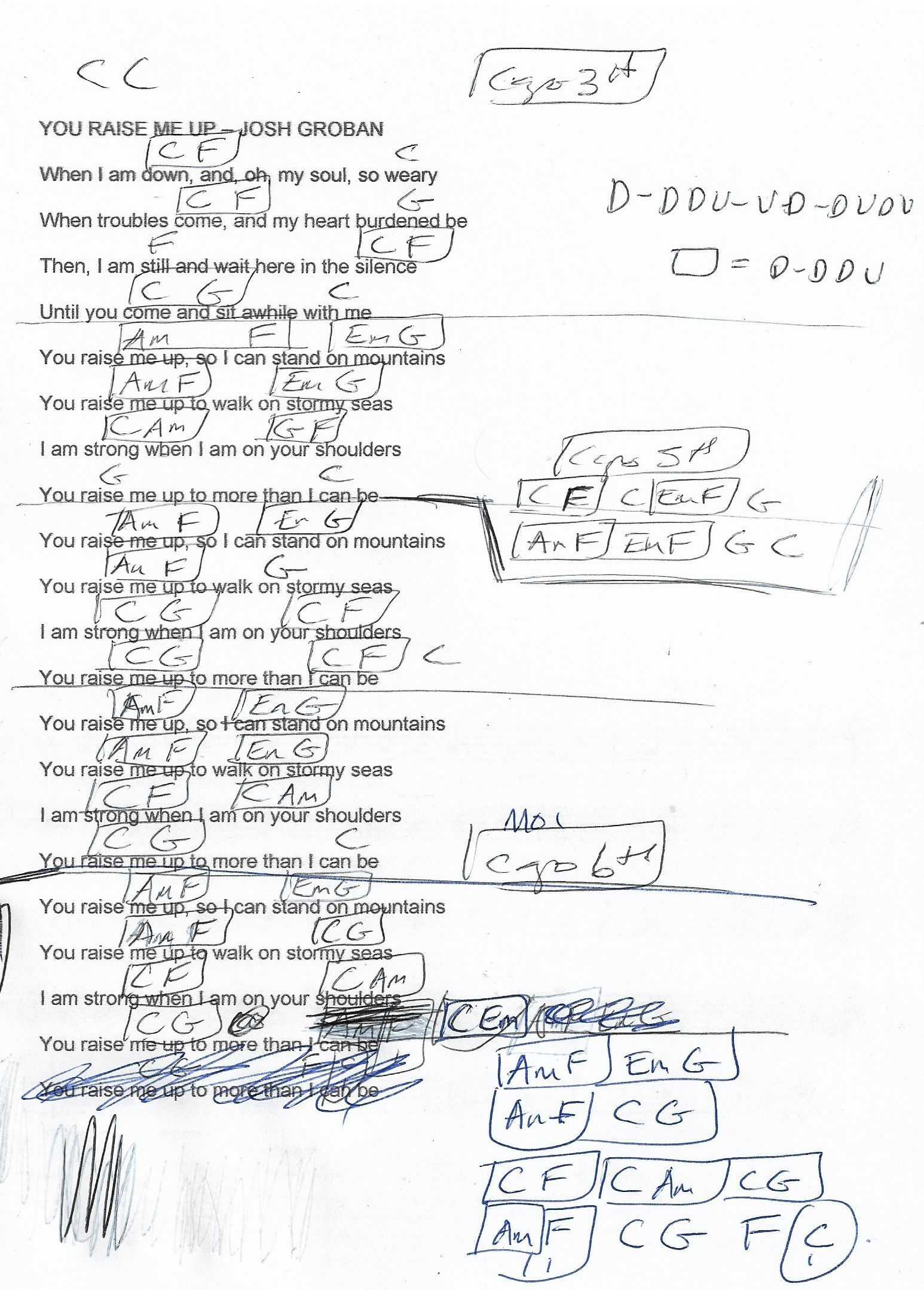 You Raise Me Up Josh Groban Guitar Chord Chart Capo 3rd