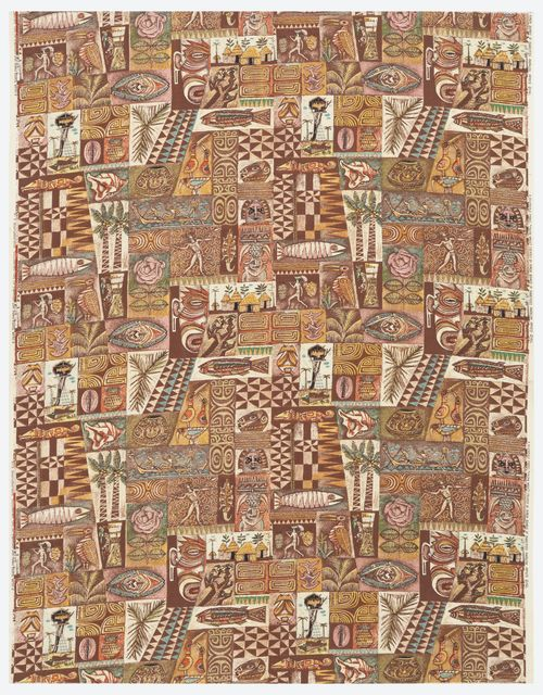 Textile, Pagan Magic, 1952; Designed by Aaron Bohrod (American, 1907–1992); USA; cotton; H x W: 153.7 x 120.7 cm (60 1/2 x 47 1/2 in.); Museum purchase from General Acquisitions Endowment Funds; 1995-48-2