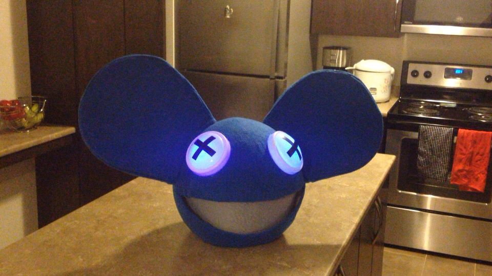 Made My Son S Halloween Costume Diy Deadmau5 Head With Led Colour Changing Eyes Color Changing Led Diy Home Diy