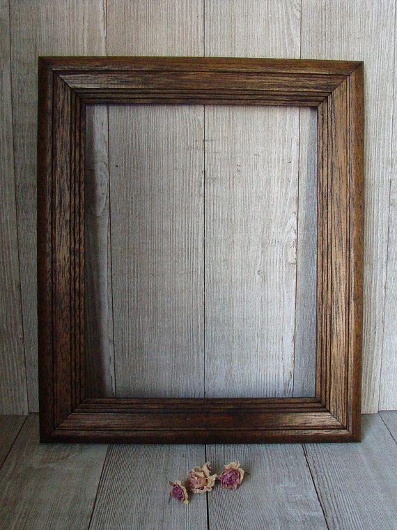 8 X 10 Frame, Vintage Wood Frame, Vintage Oak Frame, Oval Gold Matte ...
