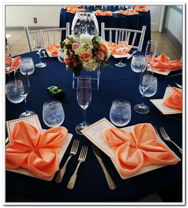 Navy Blue And Coral Wedding Decorations Ricky Ribe Wedding