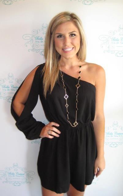 9f27c4be3a00 Black One Shoulder Romper      Bella Couture   Shop BellaC