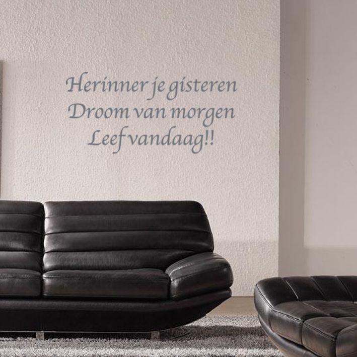 Een mooi vormgegeven muursticker met daarop de een wijze tekst. Leuk ...