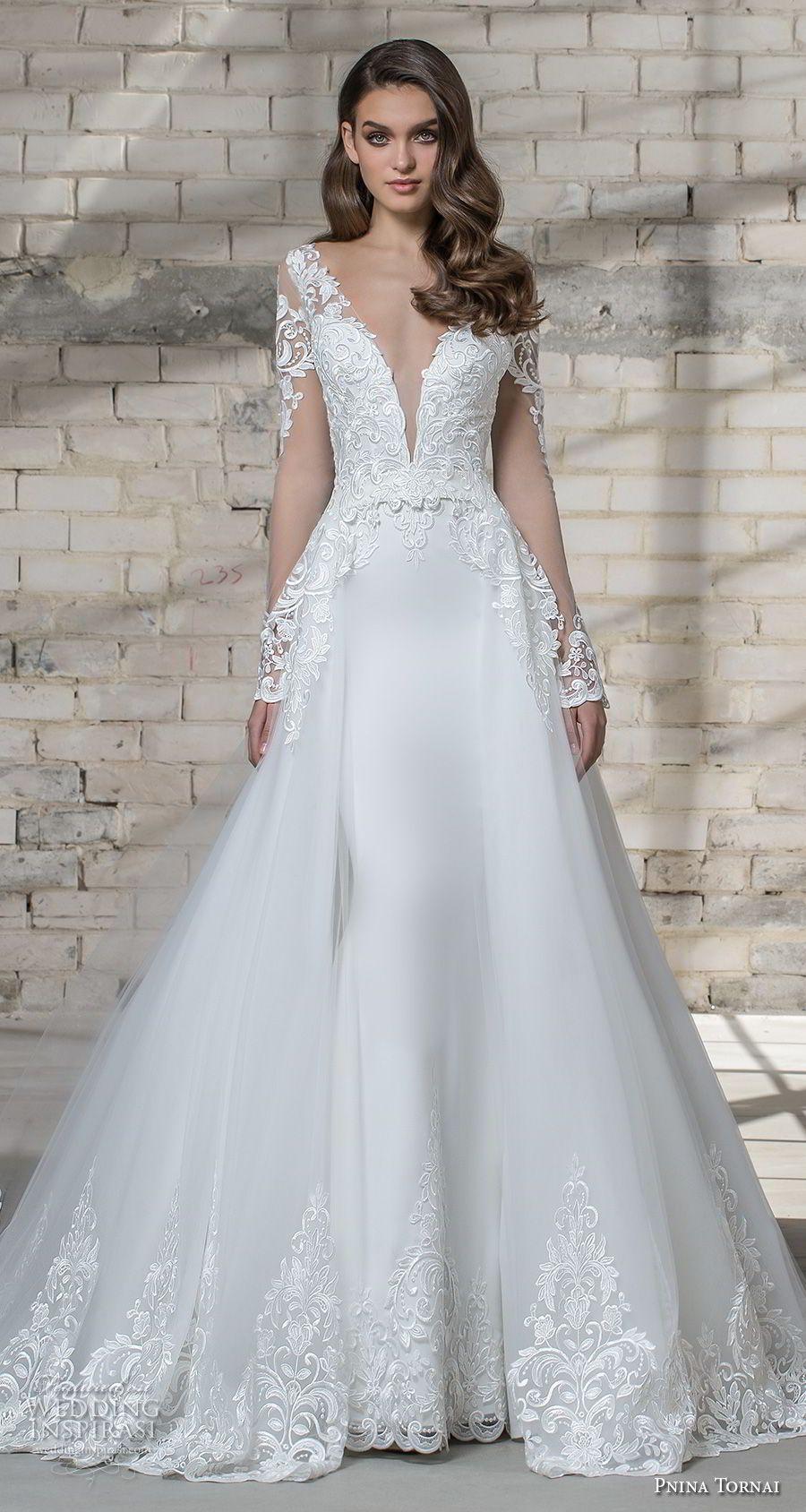 Pnina tornai love bridal long sleeves deep plunging v neck