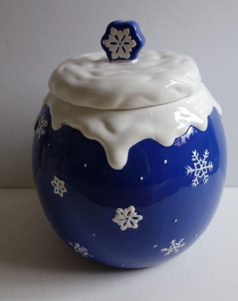 Snowflake Cookie Jar by Paula Dean | Christmas or Winter Assorted ...