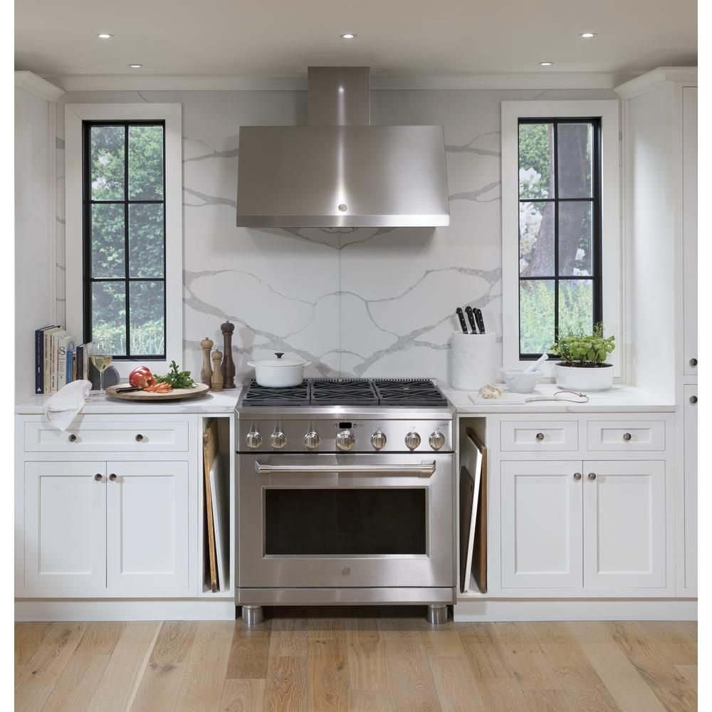 Cafe 36 In Commercial Wall Mount Range Hood In Stainless Steel Cv966tss The Home Depot Modern Kitchen Design Kitchen Decor Kitchen Design