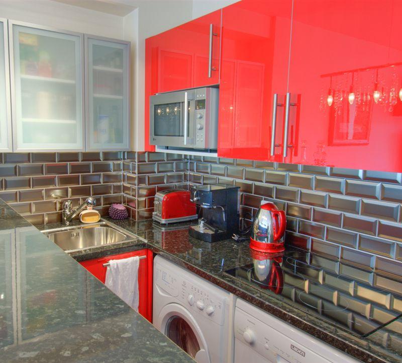 Cr dence cuisine en carrelage m tro 7 5 x 15 coloris - Carrelage mural rouge pour cuisine ...