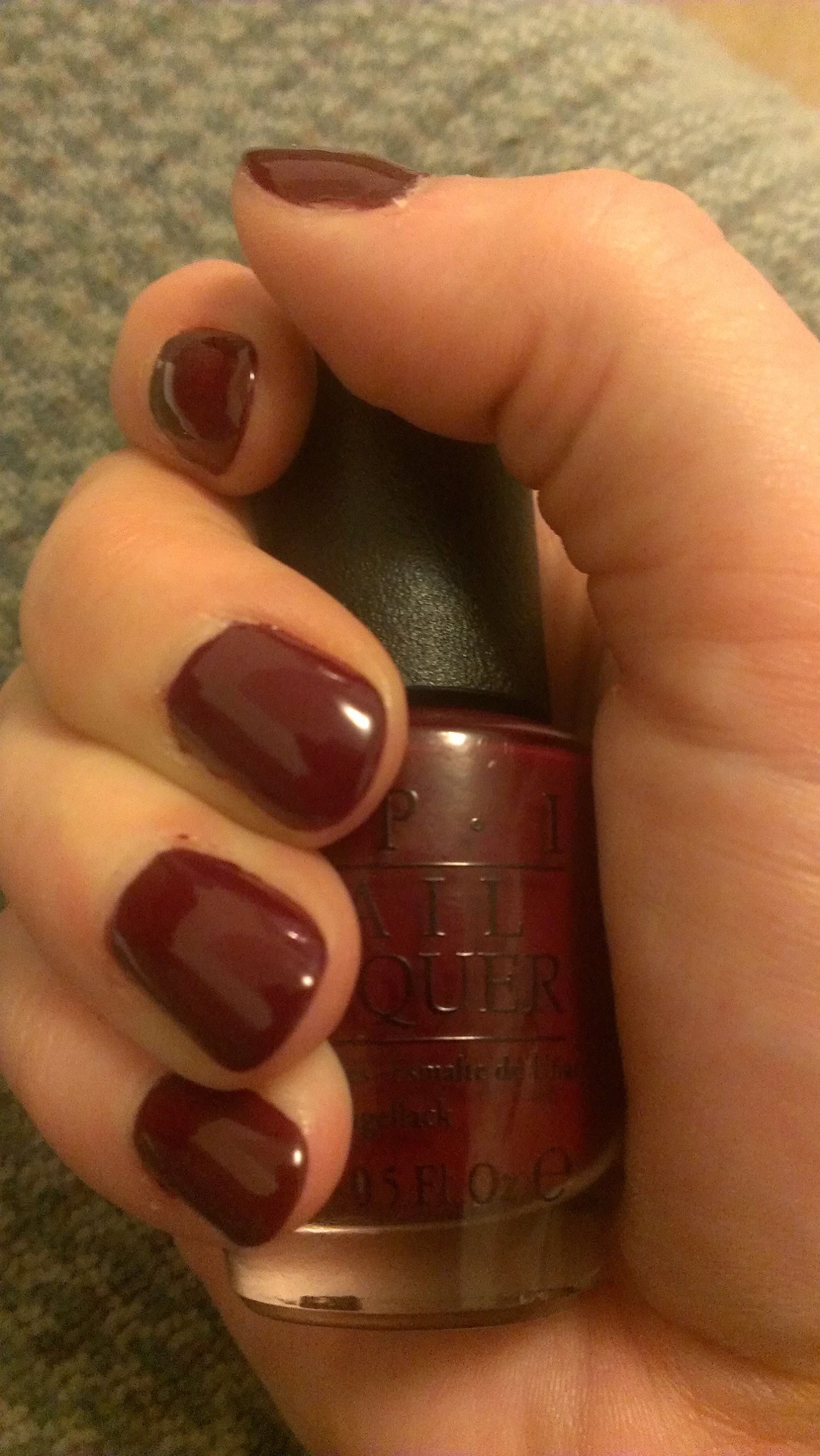 New favorite color! From OPI: Malaga Wine. It\'s the perfect deep red ...