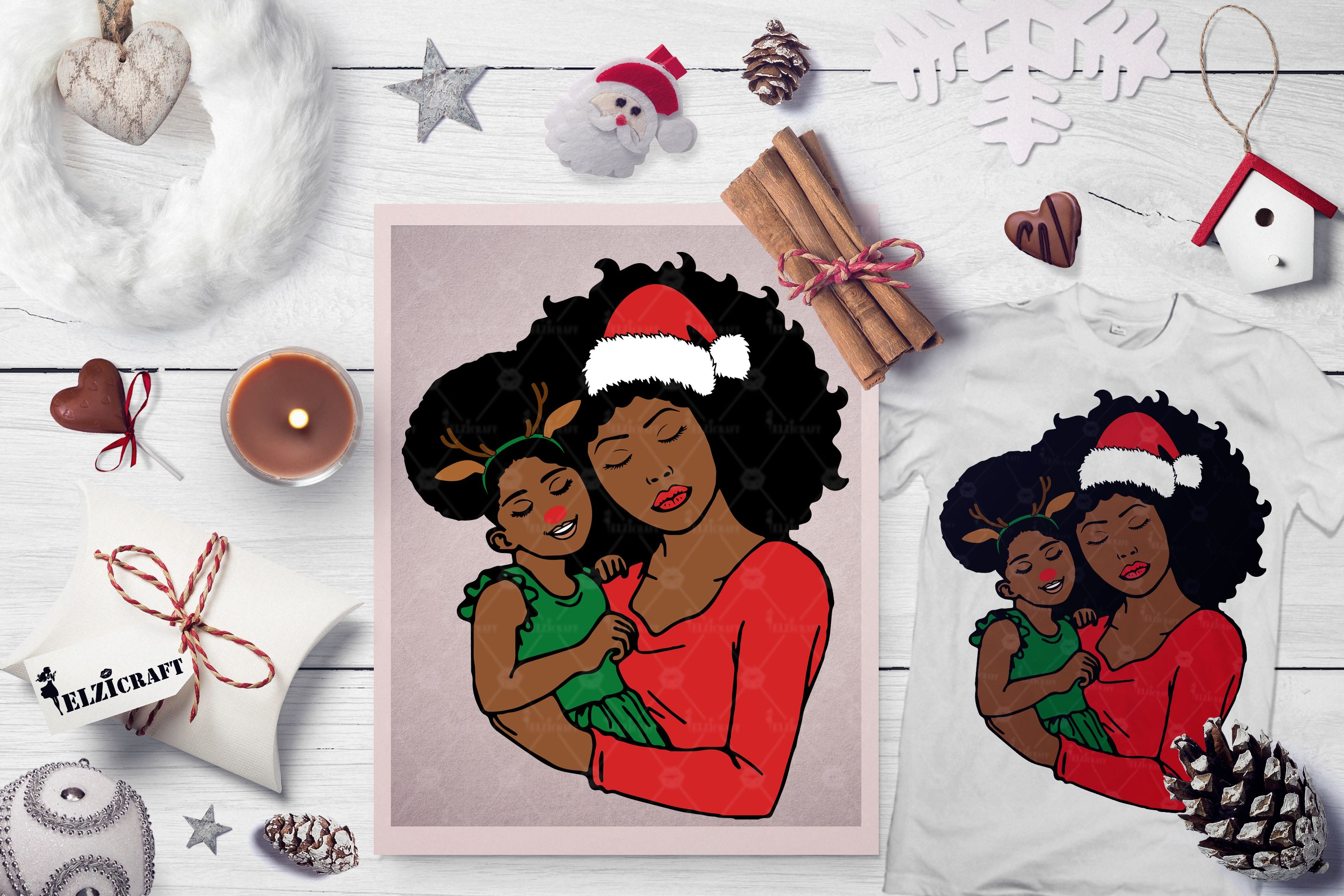 Afro, Mommy and Me, Santa Claus, Rudolph (Graphic) by