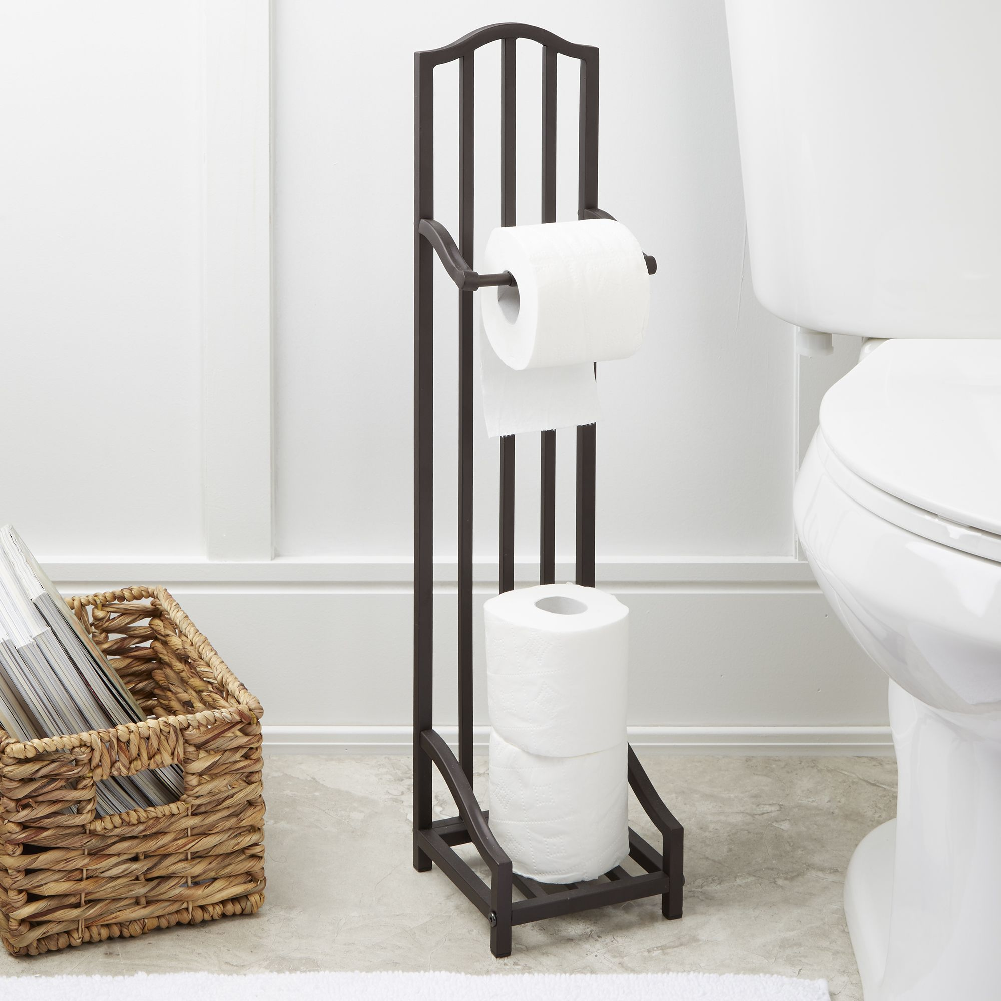 Remarkable Oil Rubbed Bronze Toilet Paper Holder For Modern Bathroom Decoration Ideas Freestanding