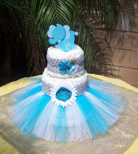 Elephant tutu diaper cake kit baby shower decoration