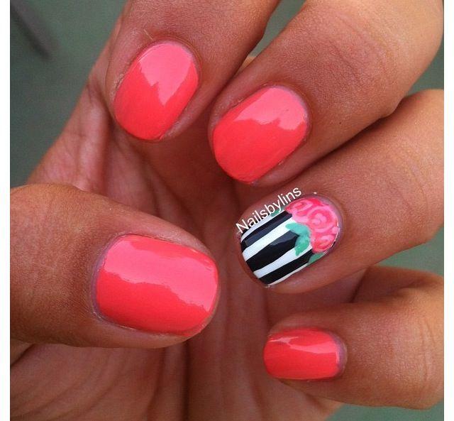 Neon coral cupcake Shellac nails Nails Nail designs