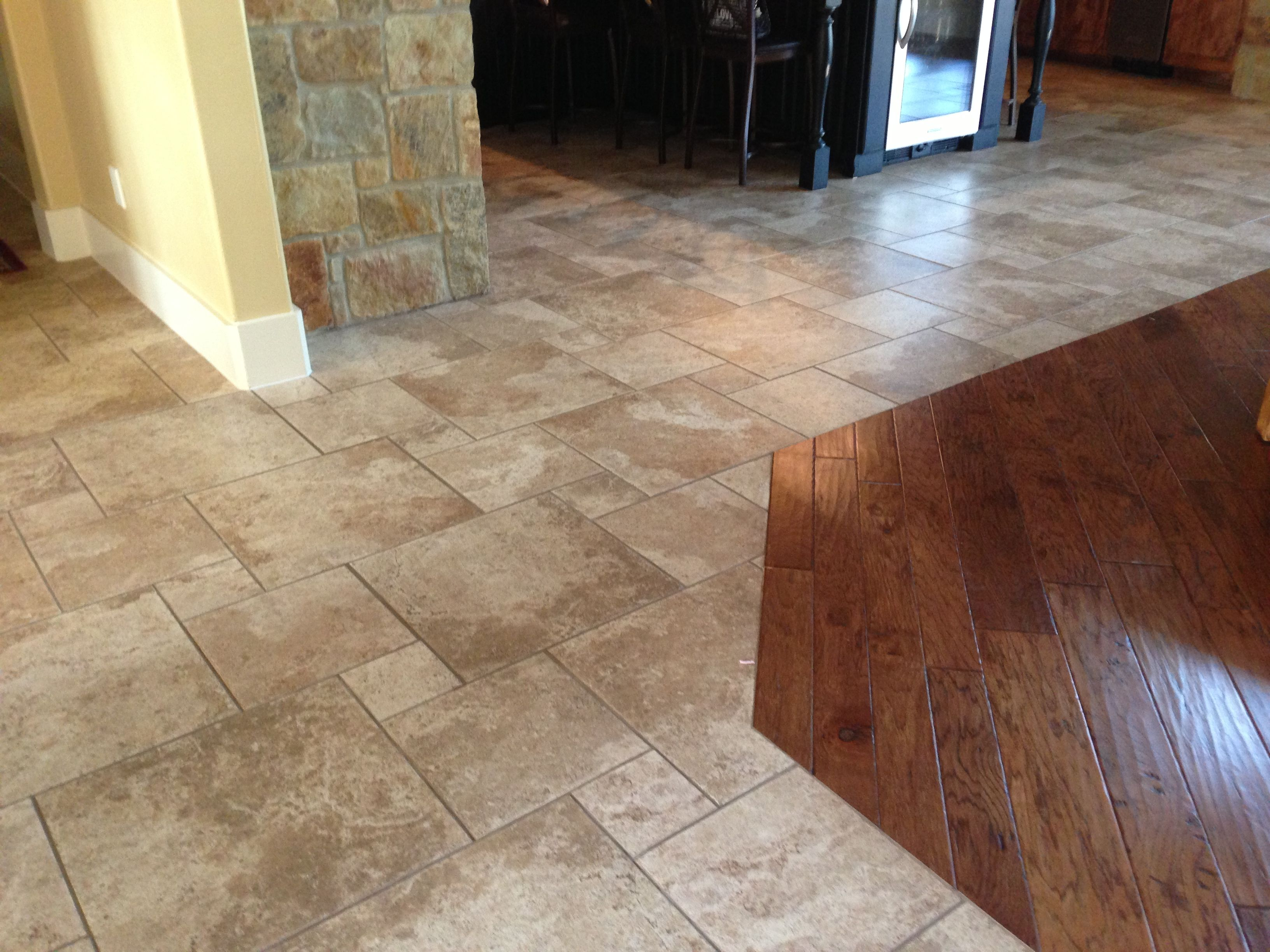 Infinity floor no transition from tile to wood new for Hardwood floor tile kitchen