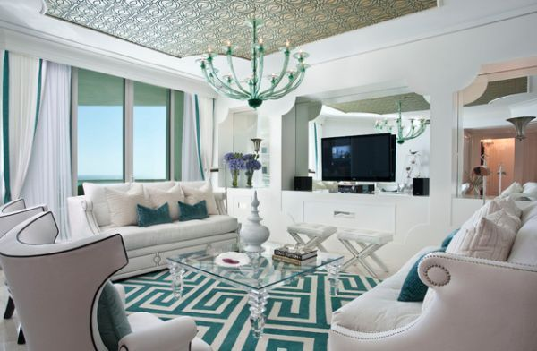 interior design im hollywood stil türkis wohnzimmer idee | diy ... - Wohnzimmer Schwarz Weis Turkis