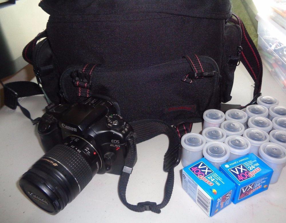 Canon Eos Elan 7 35mm Camera Ultrasonic Lens 28 80mm Diamond Bag 19 Film Rolls Canon Vintage Cameras 35mm Camera Camera