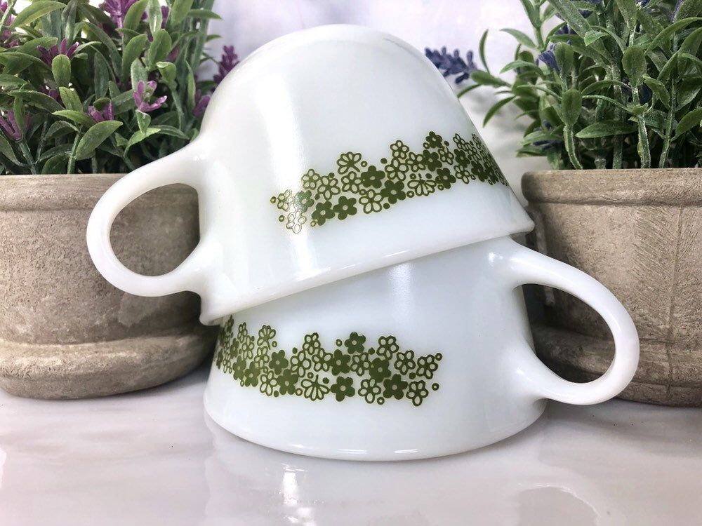 Corning pyrex cup flat spring flowers milk glass set of 2
