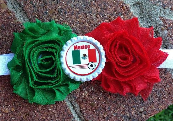Mexico head band World Cup 2014 by LorisGlitzBowTique on Etsy