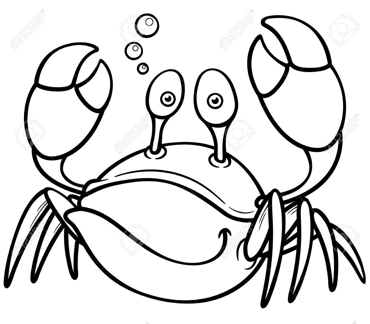 Ilustración vectorial de dibujos animados cangrejo - Coloring book ...