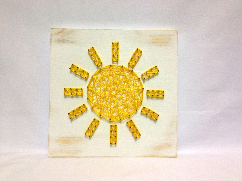 String Art Sun Sign Sunshine Wall Art Home Decor Yellow | String art ...