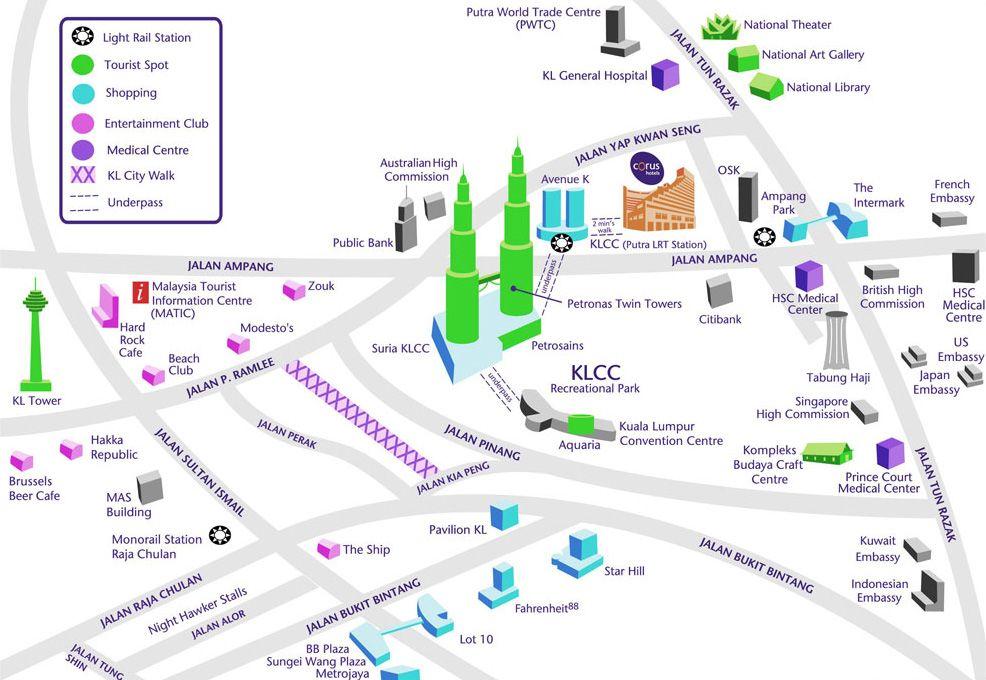 Corus Hotel Kl Area Map Kuala Lumpur Map Tourist Tourist Map