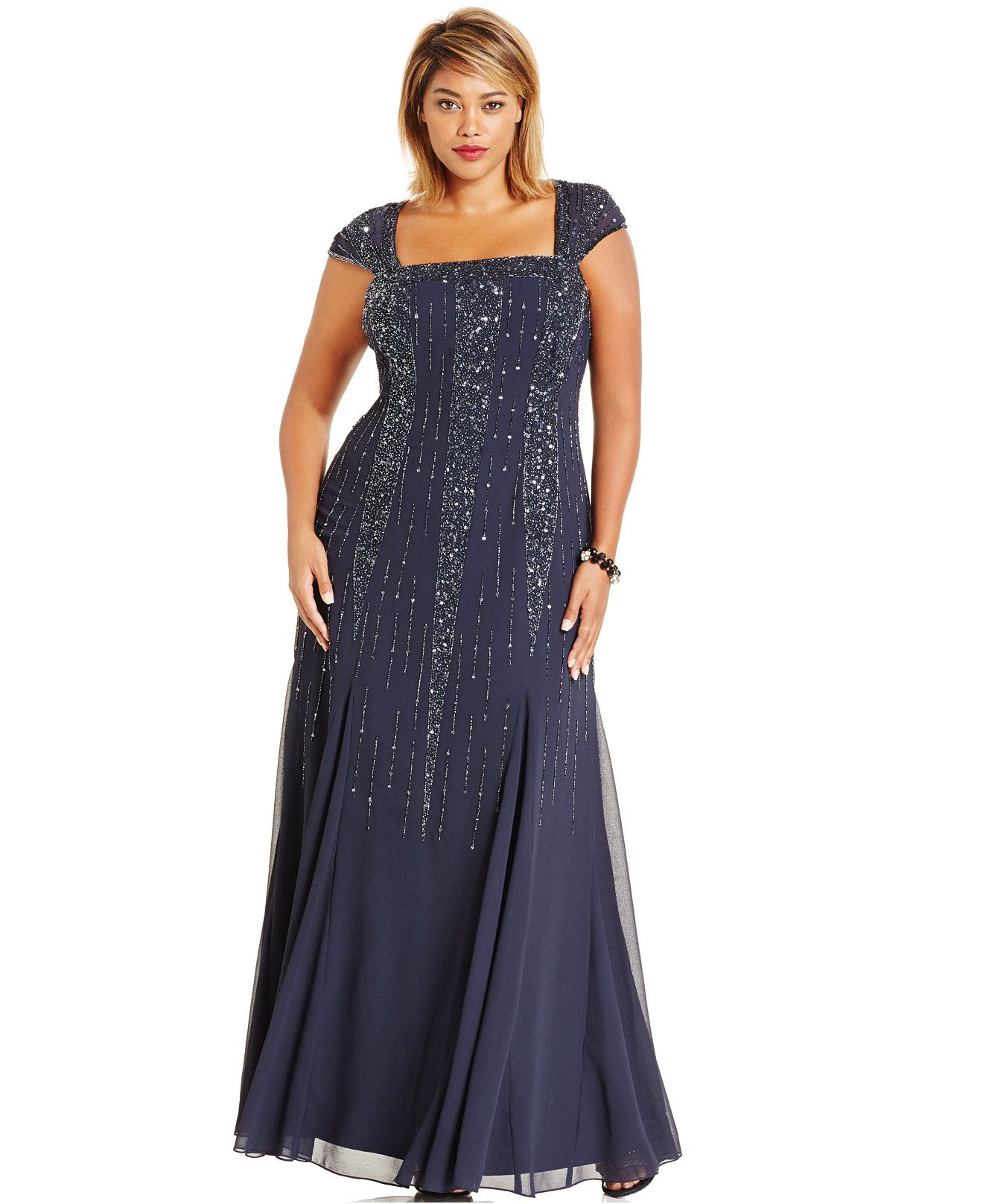 Adrianna Papell Embellished Chiffon Evening Gown - What\'s New - Plus ...