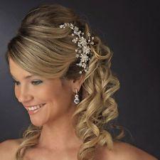 Couture Cz Ivory Pearl GOLD Wedding Bridal Hair Comb veil tiara quincenera 7096G