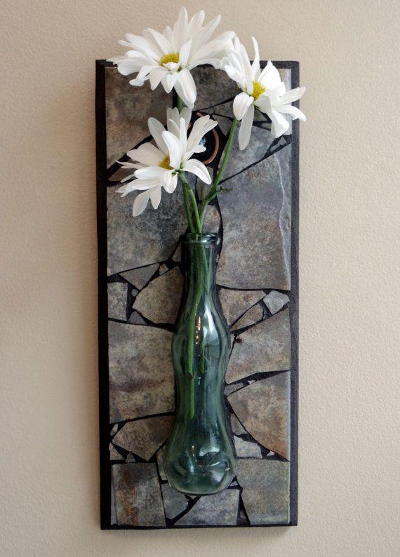 Mosaic Wall Vase Glass Wall Vase Flower Vase By Sheilaweilstudios 65 00 Glass Wall Vase Wall Vase Mosaic Wall