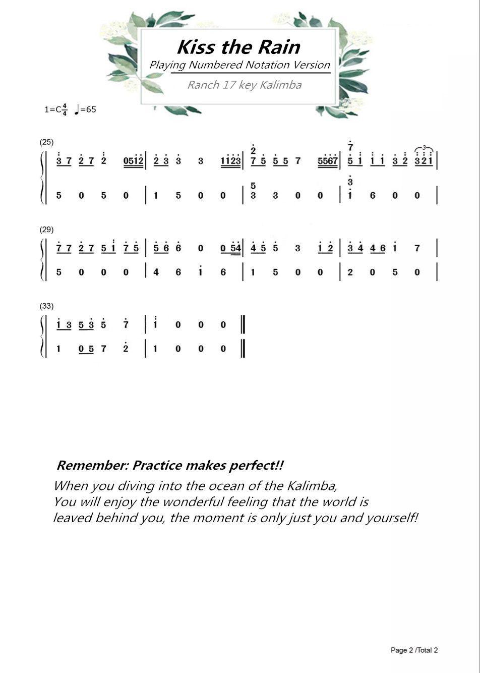 Ranch Beginners 17 Key Kalimba Lesson 4 Kiss The Rain Piano