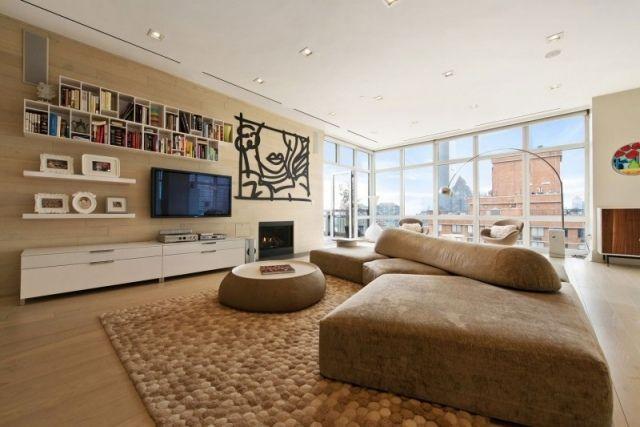 Kunst wohnzimmer ~ Wohnideen moderne wohnung überdimensionales sofa designer teppich