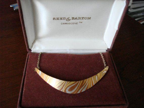 Reed & Barton Damascene Unique Swirl Choker Necklace in Presentation Box - VINTAGE