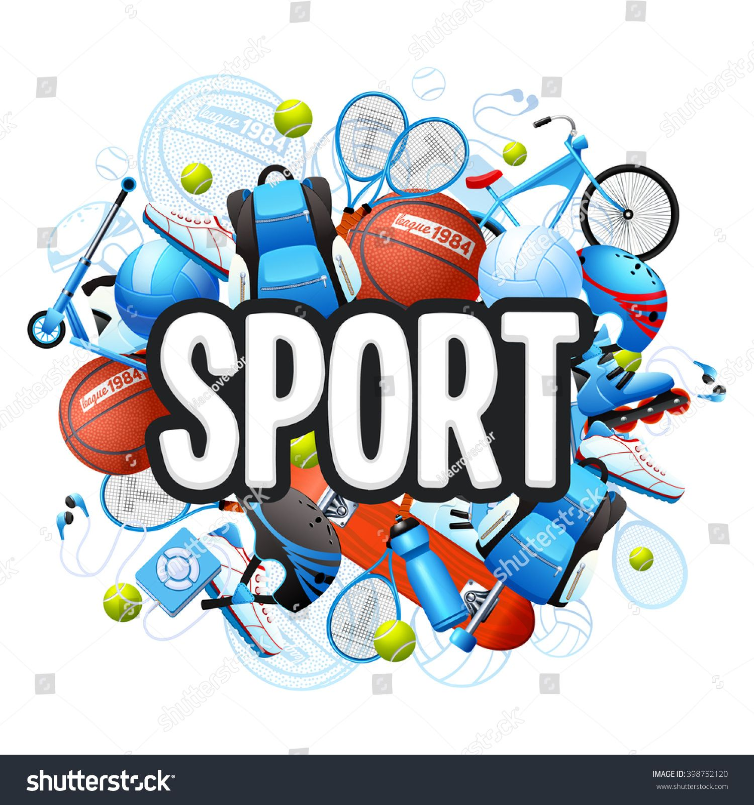 Summer Sports Cartoon Concept With Sports Equipment And Outfit Vector Illustration Ad Ad Cartoon Concept Summer Sports Summer Sports Sports Kids Sports
