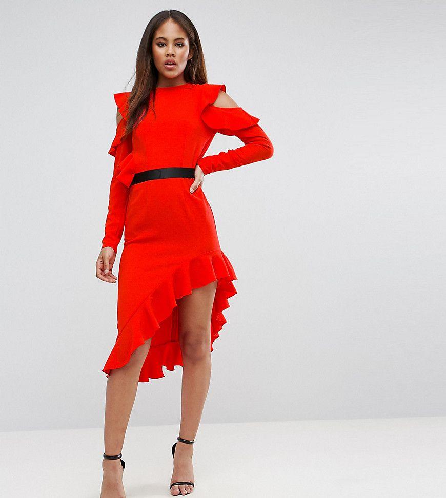 ASOS TALL - Schulterfreies, asymmetrisches Krepp-Kleid - Rot Jetzt ...