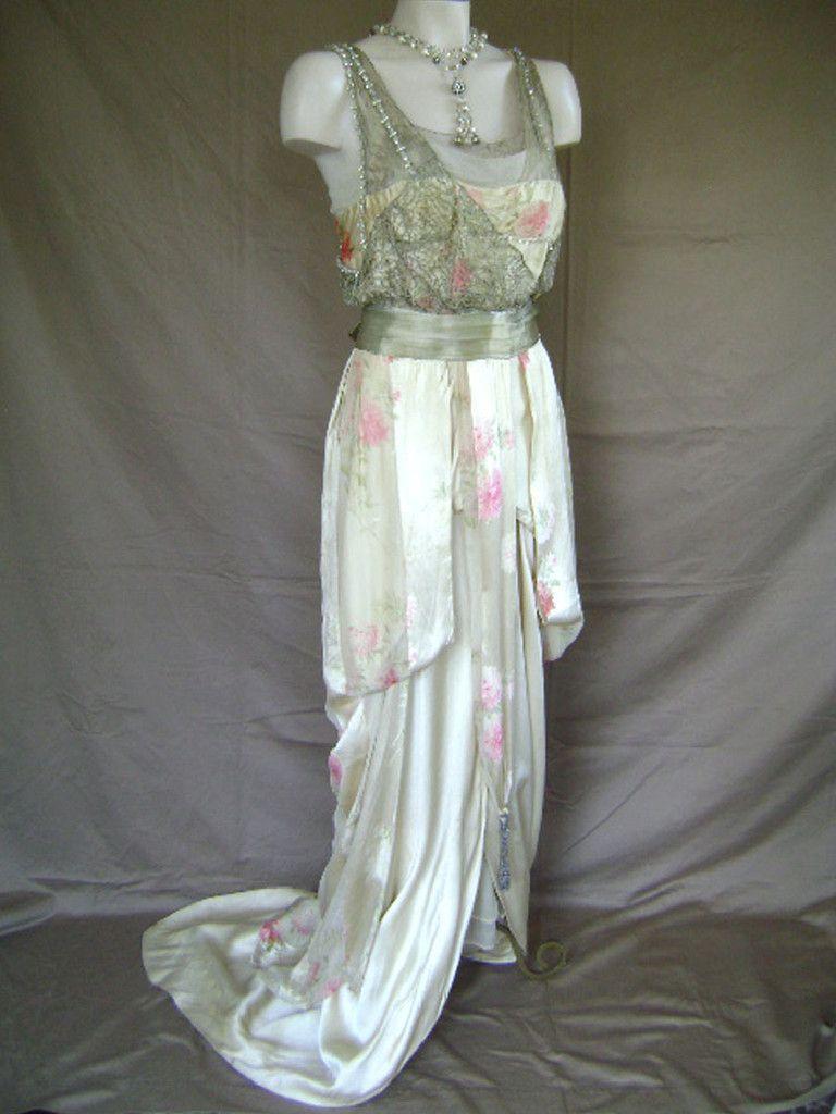 Silver metallic laces on velvet satin floral print draped edwardian ...