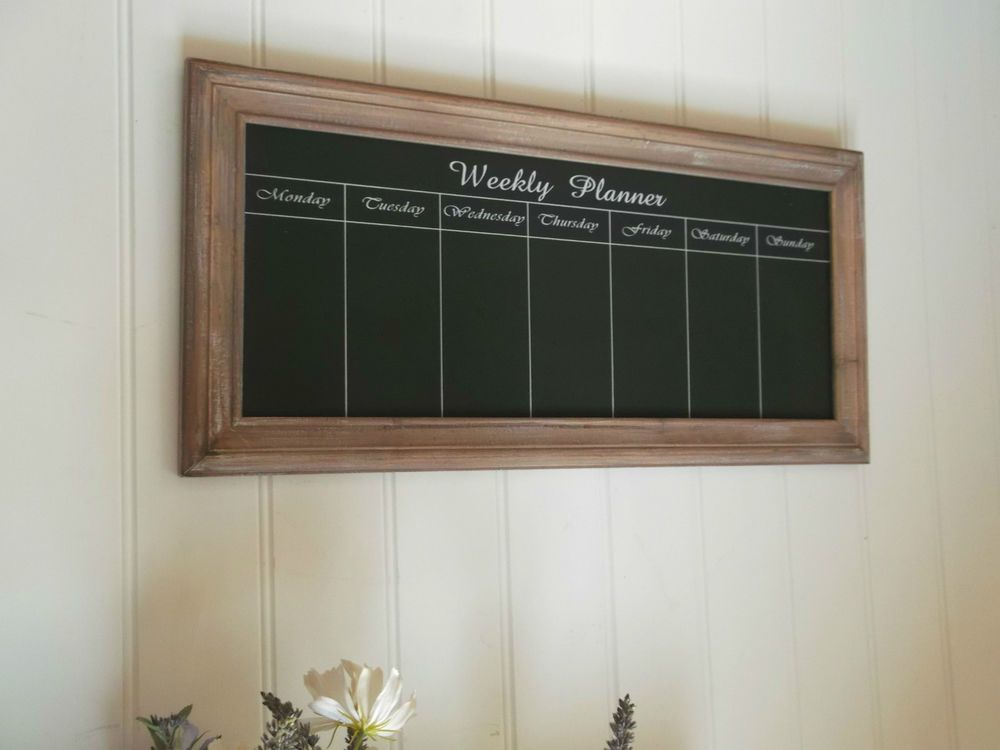 Large Shabby Chic Weekly Planner Chalk Board Message Notice Board