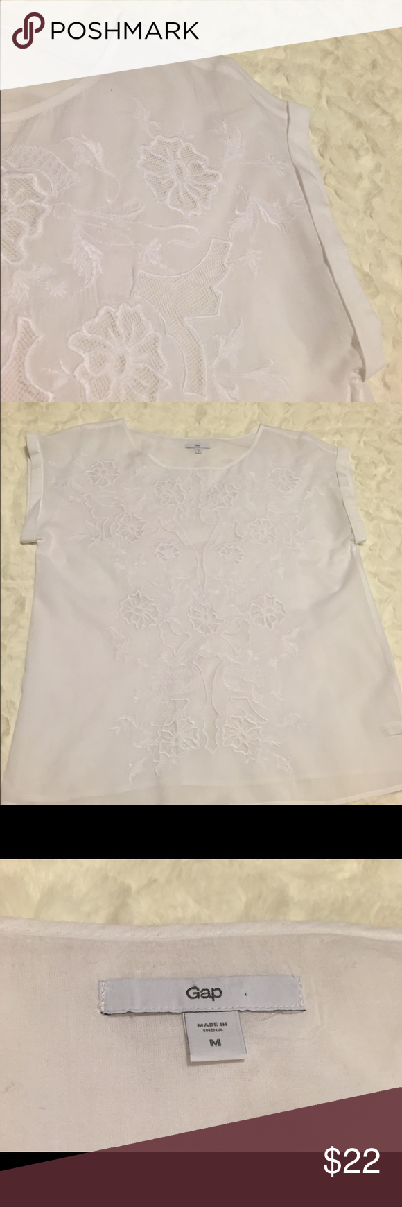 Gap sheer white blouse Such a pretty blouse, but I was sent the wrong size ☹️. Hopefully someone else loves it!!  White, sheer top with beautiful details on the front.  Size Medium, by Gap. GAP Tops Blouses