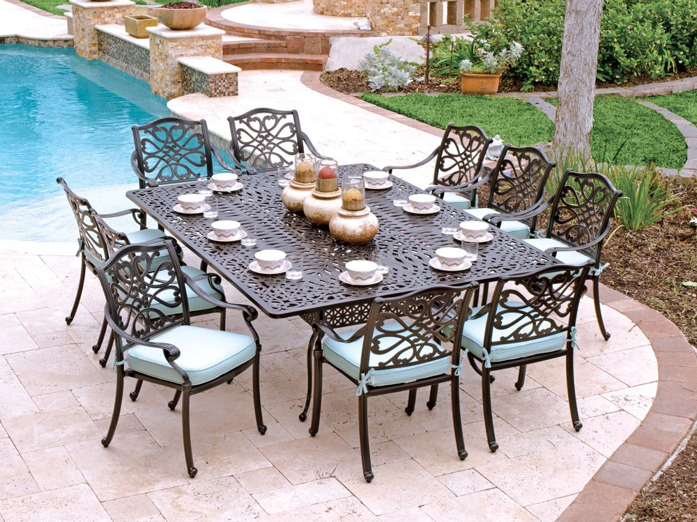 Captivating Orleans 11 Pc. Cast Aluminum Dining Set With 88 X 64 Rectangular Table