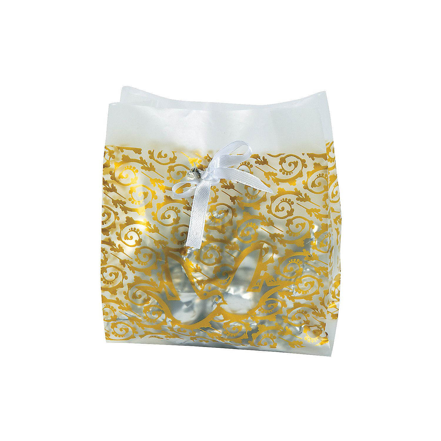 Frosted Gold Wedding Favor Cellophane Bags | Gold wedding favors ...