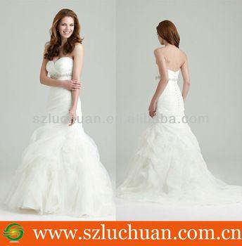 wedding dress Latest Design Strapless Sweetheart Mermaid Wedding dress