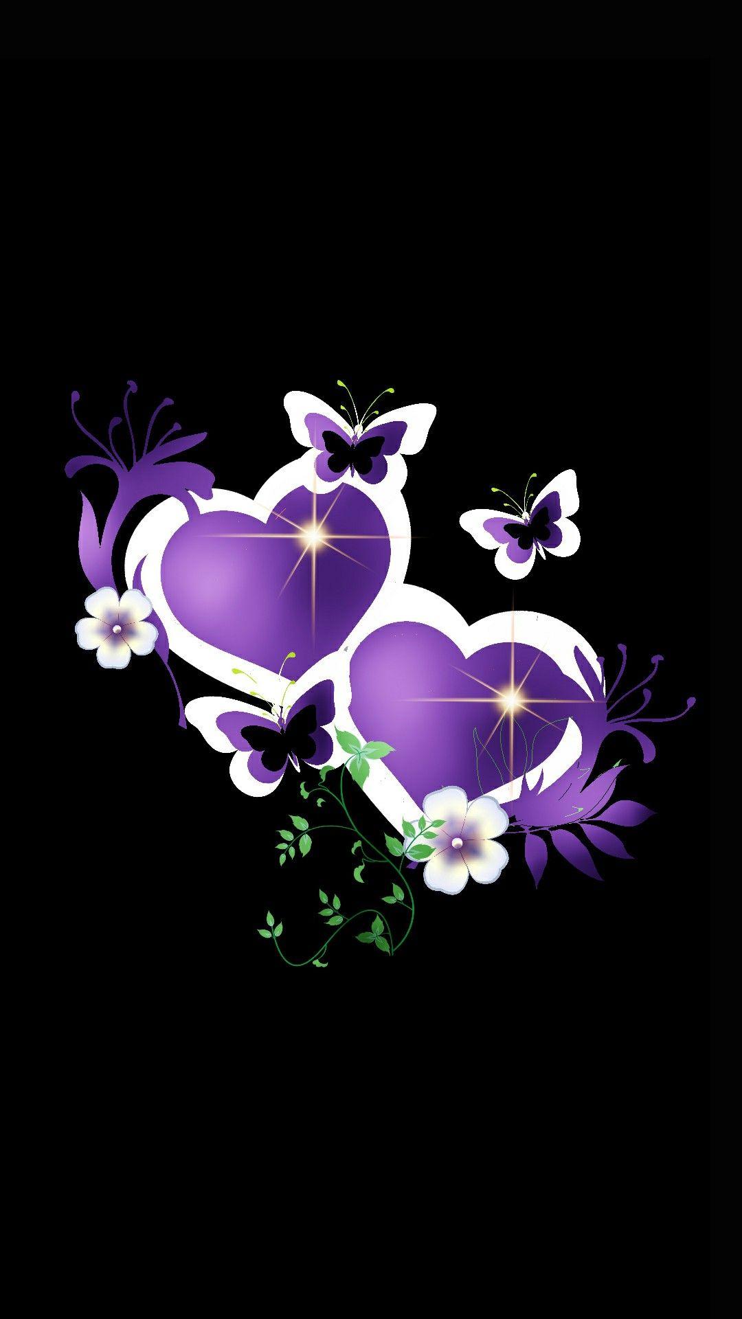 Purple white hearts butterflies heart 39 s of love - Heart to heart wallpaper ...