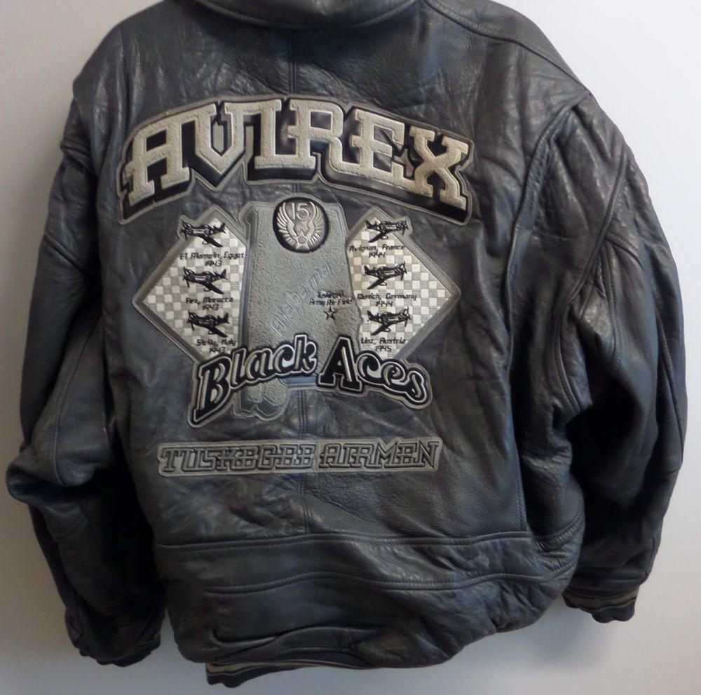 fec15f4a1 Avirex Bomber Jacket Leather Men Coat Gray Patches Black Aces 5XL Air  Forces  Avirex  BomberJacket