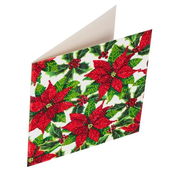 Craft Buddy POINSETTIA Crystal art DIY Christmas card or picture kit, like  5 D Diamond Painting, ideal for children & adults age 8-80