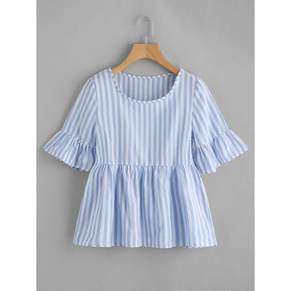 1e3baae7b5605f Contrast Striped Frill Cuff Smock Blouse ( 12) ❤ liked on Polyvore  featuring tops