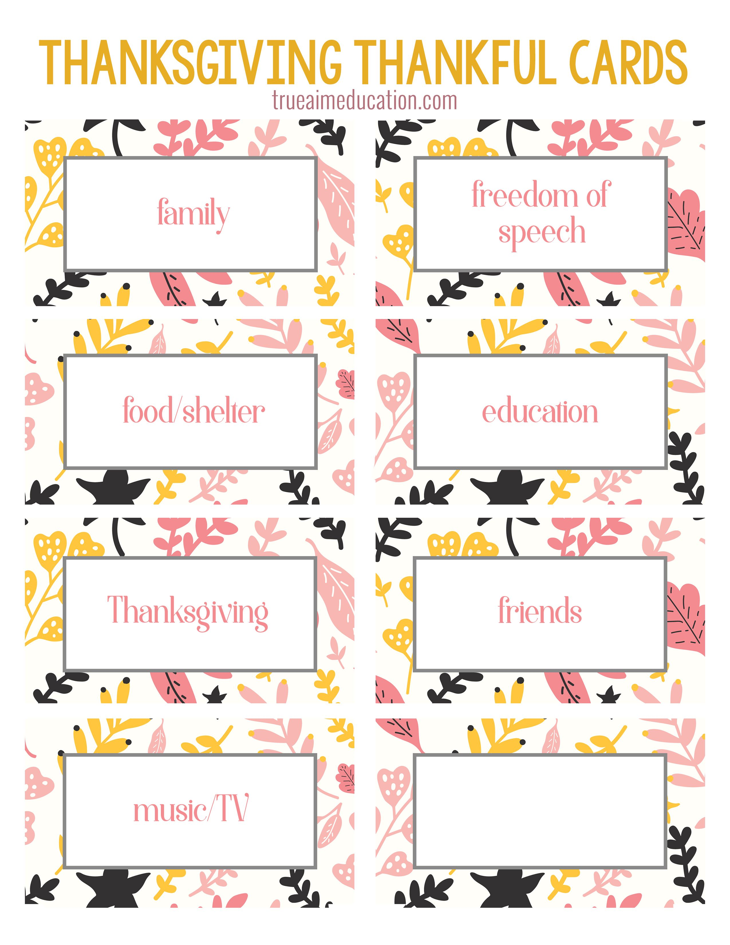 Thanksgiving Thankfulness With Free Printable Cards